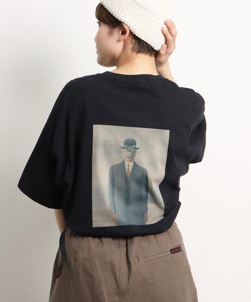 【 RENE MAGRITTE / ルネ マグリット 】 ART バックプリント 半袖カットソー アート グラフィック 絵画 ビッグシルエット Tシャツ 人の子 / The Son of Man