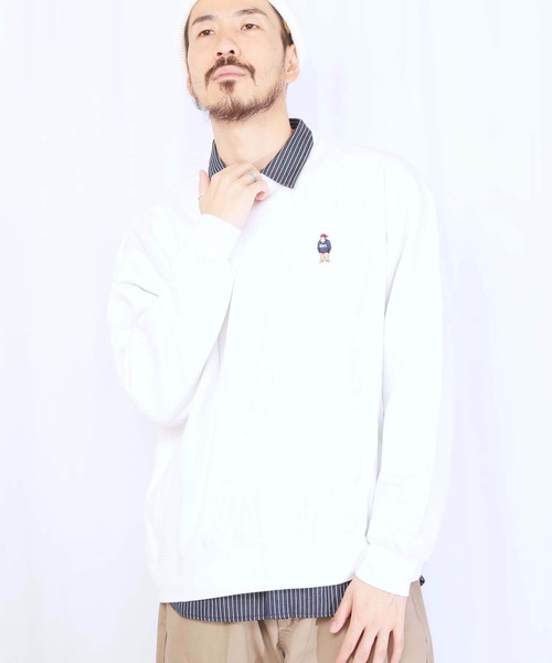 【BEN DAVIS/ベンデイビス】裏毛ワンポイントクルー 0780079 スウェット/トレーナー スマイリングゴリラ 刺繍