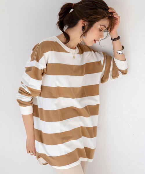 coen(コーエン)の「USAコットンオーバーサイズインレイワイドボーダーTシャツ#(Tシャツ/カットソー)」 ベージュ