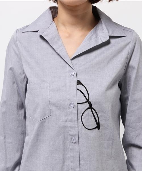 CYNICAL トロンプルイユめがね刺繍長袖シャツ