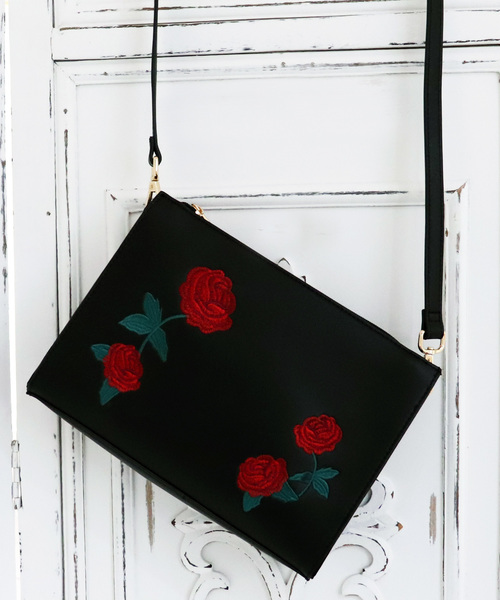 薔薇刺繍ショルダーバッグ