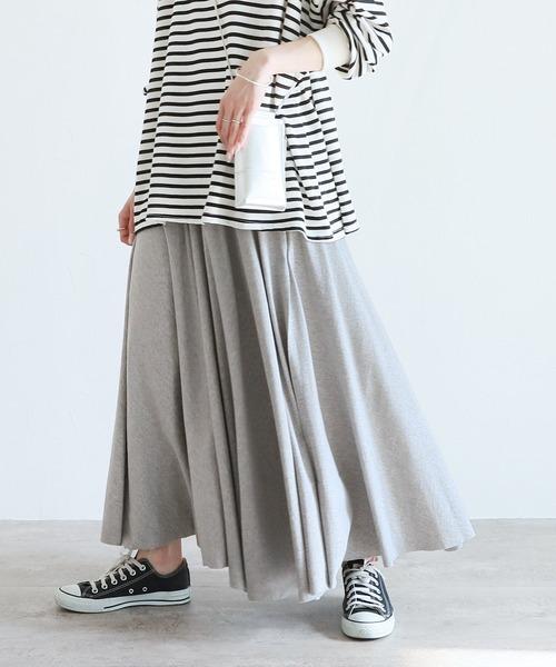 reca(レカ)の「たっぷりフレアウエストゴム切りっぱなしロングスカート(スカート)」|ライトグレー