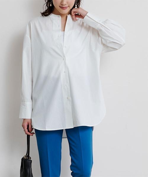 ur's(ユアーズ)の「釦バックスリットチュニックシャツ(シャツ/ブラウス)」 オフホワイト