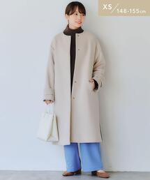 【WEB限定】[ XS /H148-155�p]ショート ビーバー ノーカラー コート