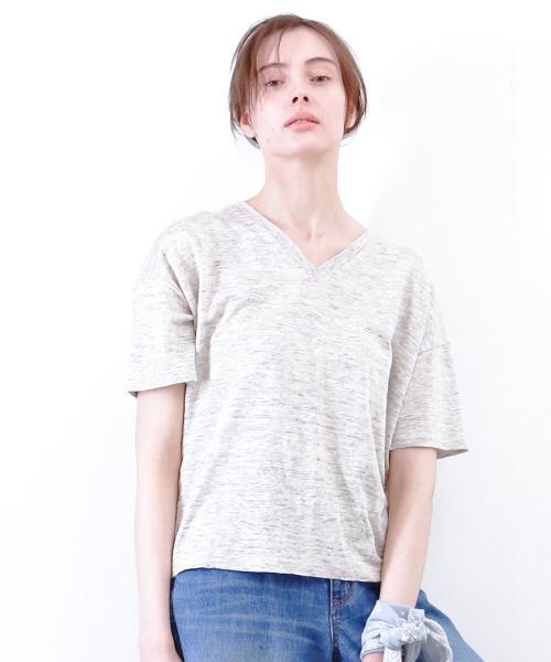 collex_(コレックス)の「リネン天竺VネックTシャツ(Tシャツ/カットソー)」|グレー