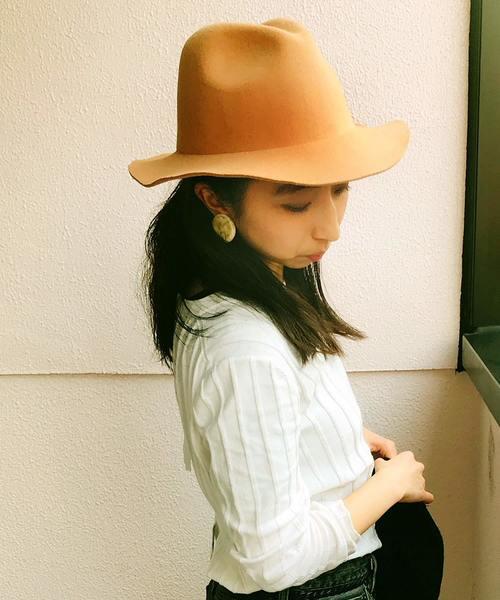 ▽ ウールライクハット つば広帽子