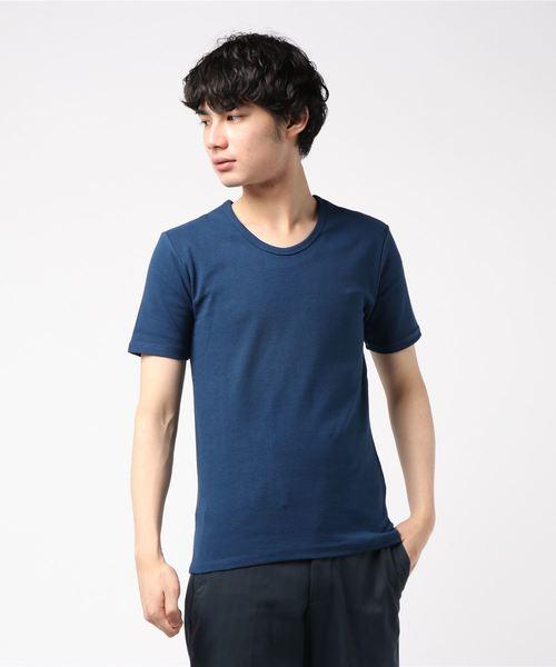 London Denim(ロンドンデニム)の「スパンデックス フライス ストレッチ クルーネック 半袖 Tシャツ(Tシャツ/カットソー)」|ネイビー