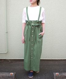 SweetMommy(授乳服&マタニティ)(スウィートマミー)のサスペンダー付き 2WAYロングデニムスカート(マタニティウェア)