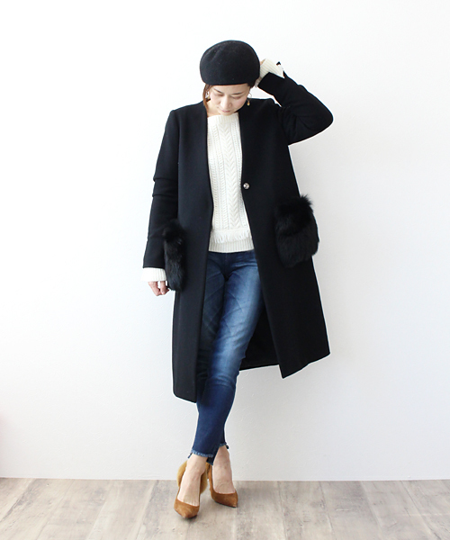 B7 / fox fur pocket no callor coat(フォックスファーポケットノーカラーコート)