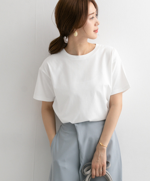 URBAN RESEARCH DOORS(アーバンリサーチドアーズ)の「スペインコットンクルーネックTシャツ(Tシャツ/カットソー)」|オフホワイト