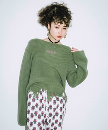 X-girl(エックスガール)のCOTTON CROPPED KNIT TOP(ニット/セーター)