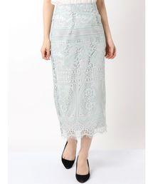 MERCURYDUO(マーキュリーデュオ)の配色ケミカルレースタイトスカート(スカート)