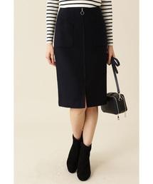 NATURAL BEAUTY BASIC(ナチュラルビューティベーシック)のウールビーバーZIPディテールスカート(スカート)