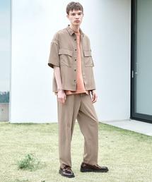 【セットアップ】ブライトポプリン レギュラーカラー オーバー ドレープ CPOシャツ&ワイドアンクルシェフパンツベージュ