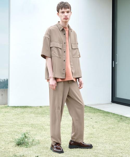 【セットアップ】ブライトポプリン レギュラーカラーシャツ オーバー ドレープ CPOシャツ&ワイドアンクルシェフパンツ ワンマイルウェア