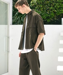 【セットアップ】ブライトポプリン レギュラーカラーシャツ オーバー ドレープ CPOシャツ&ワイドアンクルシェフパンツ ワンマイルウェアブラウン
