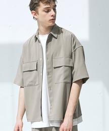 【セットアップ】ブライトポプリン レギュラーカラーシャツ オーバー ドレープ CPOシャツ&ワイドアンクルシェフパンツ ワンマイルウェアグレイッシュベージュ