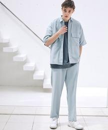 【セットアップ】ブライトポプリン レギュラーカラーシャツ オーバー ドレープ CPOシャツ&ワイドアンクルシェフパンツ ワンマイルウェアグレイッシュブルー
