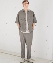 【セットアップ】ブライトポプリン レギュラーカラーシャツ オーバー ドレープ CPOシャツ&ワイドアンクルシェフパンツ ワンマイルウェアベージュ系その他2