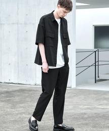 【セットアップ】ブライトポプリン レギュラーカラー オーバー ドレープ CPOシャツ&ワイドアンクルシェフパンツブラック