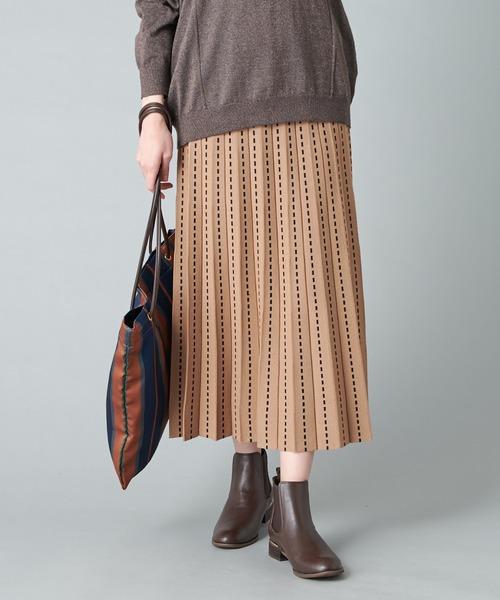 un dix cors(アンディコール)の「動きやすく、着心地の良い1枚 フレアニットスカート(ウエストゴム・紐)(スカート)」|キャメル