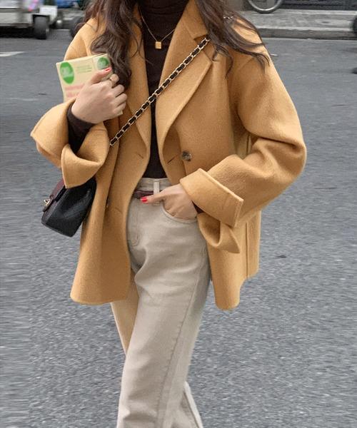 ショート丈 オーバーサイズ Pコート