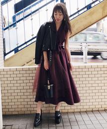 AMERI(アメリヴィンテージ)のTULLE DOCKING DRESS(ワンピース)