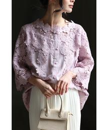 cawaii(カワイイ)の美しい花レースの華やぎ花刺繍の透け感シャツブラウス(シャツ/ブラウス)