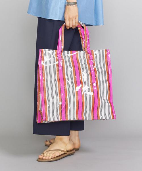 <INDIA MARKET BAG>ストライプトートバッグ ◆