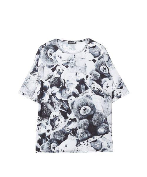 モノクロアニマルテディベアTシャツ エクスクルーシブ -メガビッグ-