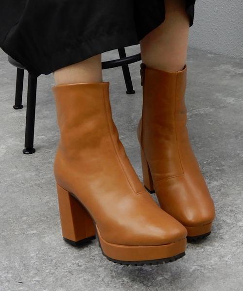 minia(ミニア)の「チャンキーヒール厚底ミドルブーツ [ minia ] ≪2019AW再販&新色はパイソン≫(ブーツ)」 ブラウン