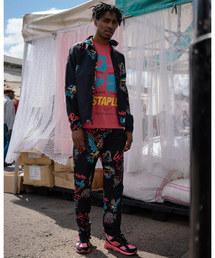 【STAPLE】ネオンカラープリント ナイロントラックジャケット 鳩 刺繍(ナイロンジャケット)
