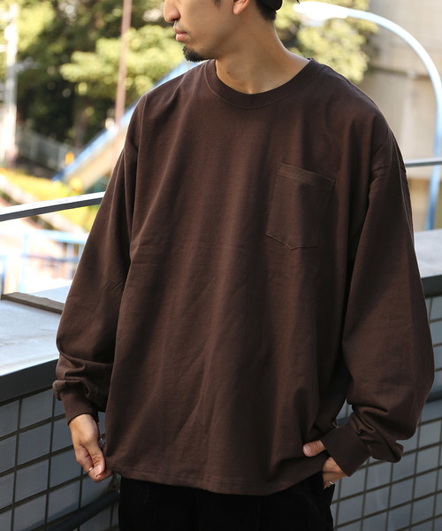 WEB限定 GILDAN/ギルダン カスタムフィット ビッグシルエット ポケット長袖Tシャツ