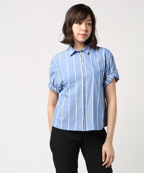【CKS】ストライプ袖ギャザーシャツ