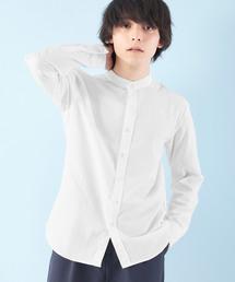 オックスフォードバンドカラーシャツ L/Sオフホワイト