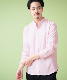 オックスフォードバンドカラーシャツ L/Sピンク
