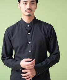 オックスフォードバンドカラーシャツ L/Sブラック