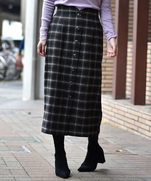 前ボタンチェックロングスカート