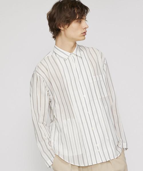【UNDECORATED】コットンストライプLSシャツ
