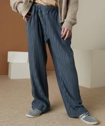 プリーツワイドテーパードリラックスイージーパンツ/ワイドパンツ ワンマイルウェア EMMA CLOTHES 2021SSダークブルー