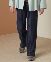 プリーツワイドテーパードリラックスイージーパンツ/ワイドパンツ ワンマイルウェア EMMA CLOTHES 2021SSネイビー