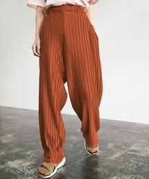 プリーツワイドテーパードリラックスイージーパンツ/ワイドパンツ ワンマイルウェア EMMA CLOTHES 2021SSオレンジ