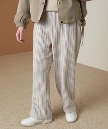 プリーツワイドテーパードリラックスイージーパンツ/ワイドパンツ ワンマイルウェア EMMA CLOTHES 2021SSライトグレー