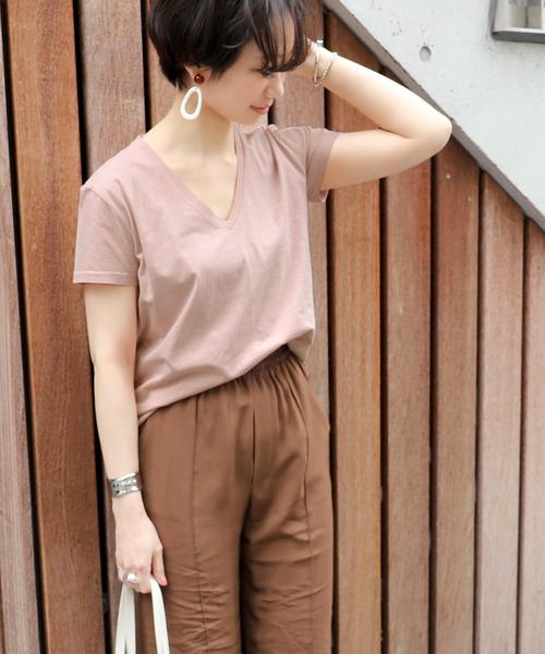 coca(コカ)の「シンプルコットンVネックTシャツ(Tシャツ/カットソー)」|ピンク