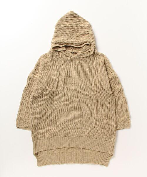 フード付きパーカーニットセーター