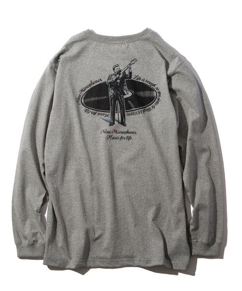 NineMicrophones(ナインマイクロフォンズ)の「Music for life L/S(Tシャツ/カットソー)」|グレー