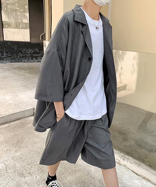 オーバーサイズ セットアップ ビッグシルエットシャツ&ワイドハーフパンツ  韓国 韓流 中国 サマー