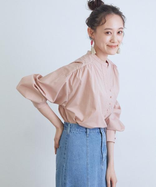 ViS(ビス)の「【WEB限定】コットンカフタンネックシャツ(シャツ/ブラウス)」 ピンク