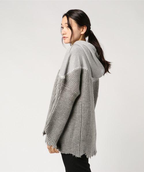 ADDICT NOIR/アディクト ノアー/SWEAT COMBI KNIT HOODEI