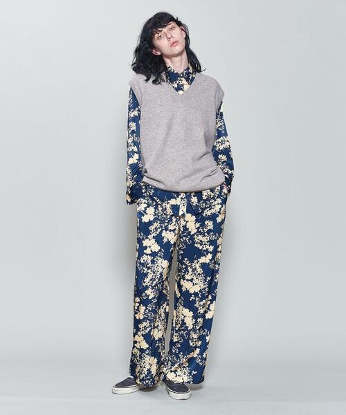 <6(ROKU)>SATIN FLOWER PRINT SHIRT/シャツ